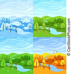Four seasons landscape. Illustration with forest, trees and bushes in winter, spring, summer, autumn.