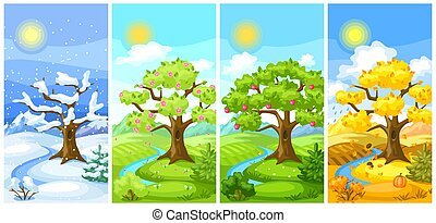 Four seasons landscape. Illustration with trees, mountains and hills in winter, spring, summer, autumn.