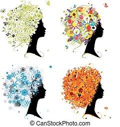 Four seasons - spring, summer, autumn, winter. Art female head for your design