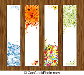 Four seasons - spring, summer, autumn, winter. Banners with place for your text