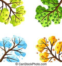 Four seasons trees background.