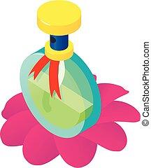 Fragrance bottle icon, isometric style