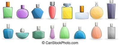 Fragrance bottles icon set, cartoon style