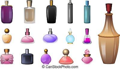 Fragrance bottles icons set, cartoon style