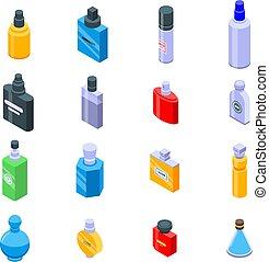 Fragrance bottles icons set, isometric style