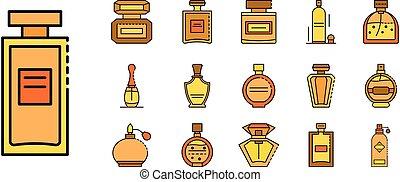 Fragrance bottles icons set line color vector
