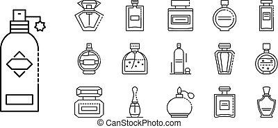Fragrance bottles icons set, outline style