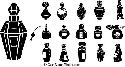 Fragrance bottles icons set, simple style