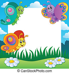 Frame with butterflies theme 1 - vector illustration.