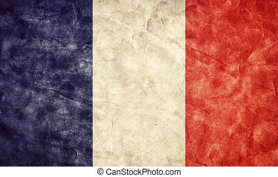 France grunge flag. Vintage, retro style. High resolution, hd quality. Item from my grunge flags collection.