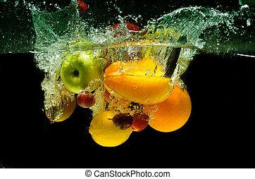 Fresh fruit Splash in Water