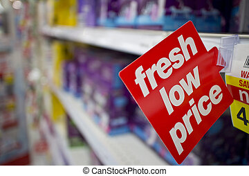 Fresh Low Price tag in department store