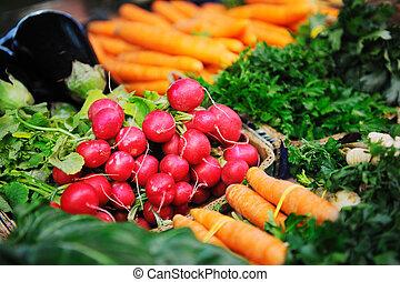 fresh organic vegetables food on market