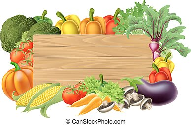 A wooden vegetables sign background surrounded by a border of fresh fruit and vegetables food produce