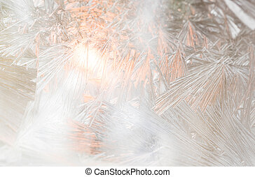 Frosted window with light inside.