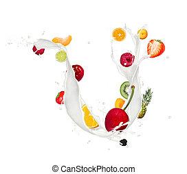 Fruit mix in milk splash isolated on white background