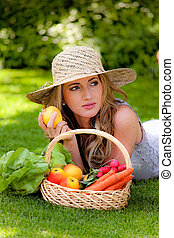 fruits and vegetables in the basket with his wife