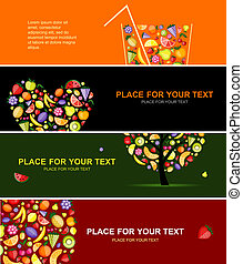 Fruits banners horizontal for your design
