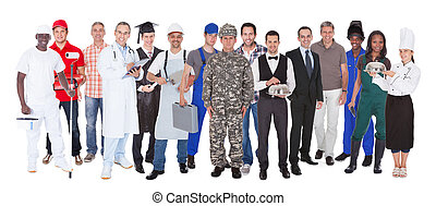 Full Length Of People With Different Occupations