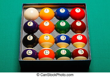 Full set of snooker balls inside an hard paper box
