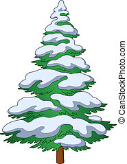 Christmas fur-tree with snow, winter symbol, isolated object