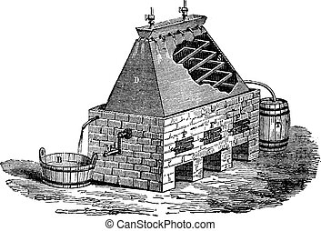 German Apparatus for the Distillation of Urine, vintage engraved illustration. Industrial Encyclopedia - E.O. Lami - 1875