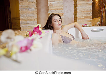 Girl in hot tub