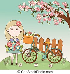 girl with bouquet and tree flowers bicycle cartoon