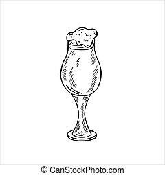 Glass goblet with beer and foam, doodle style, Oktoberfest