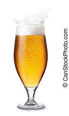 glass of splashing beer