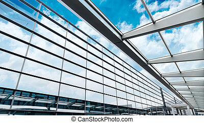 glass wall with open windows - background.
