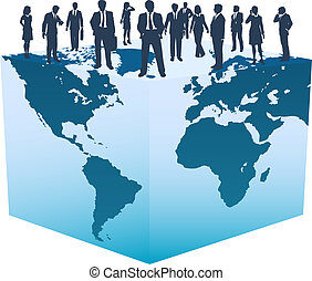 Global business resources people on world cube