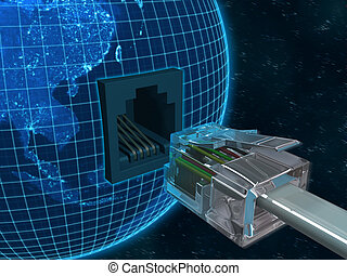 Concept of global information and communication.