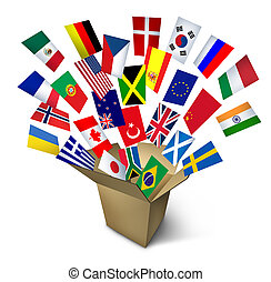 Global shipping and freight services and worldwide delivery transport with an open cardboard cargo box and flags from around the world flying out on a white background.