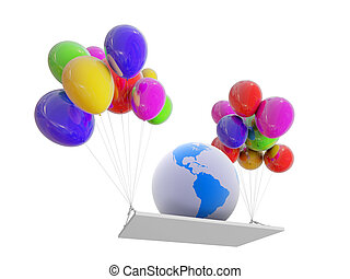Globe on COLOR balloons