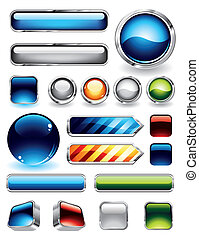 Large collections of glossy and metallic buttons for websites