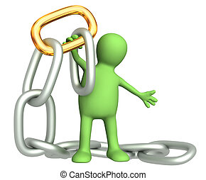 Puppet with gold chain link. Isolated over white