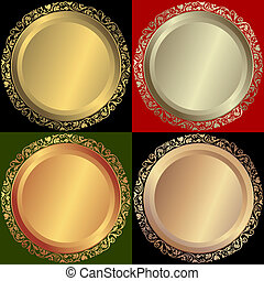 Golden, silvery and bronze plates