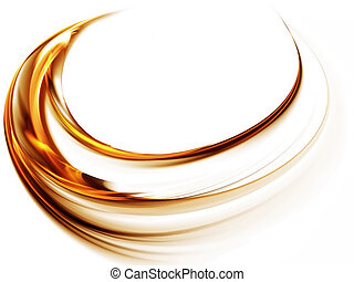 Whirlpool, golden vortex as a metaphor of speed and power on white background
