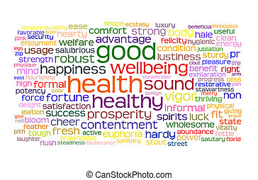 good health and wellbeing tag or word cloud