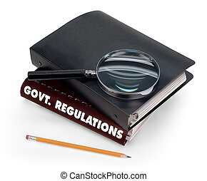 government regulations, magnifier, pencil