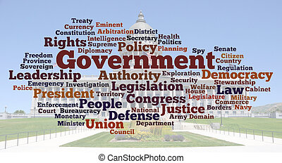 Government Word Cloud with Utah Capitol Background