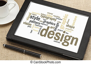 cloud of words or tags related to graphic design on a digital tablet with a cup of coffee
