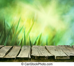 Grass with table