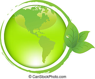 Green Earth With Leaves
