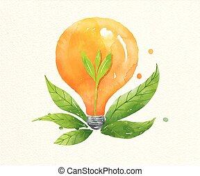 Green energy plant growing inside the light bulb