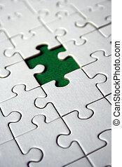 Green empty jigsaw piece