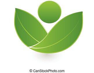 Green leafs health nature logo