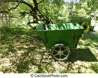 Green trolley in nature