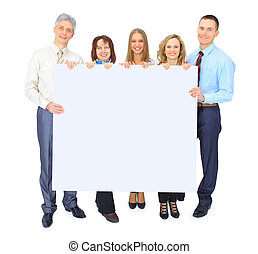 group of business people holding a banner ad isolated on white